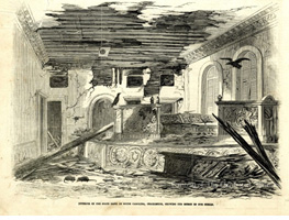 Banking Hall Shelling Damage, Leslie's 1865 Illustration